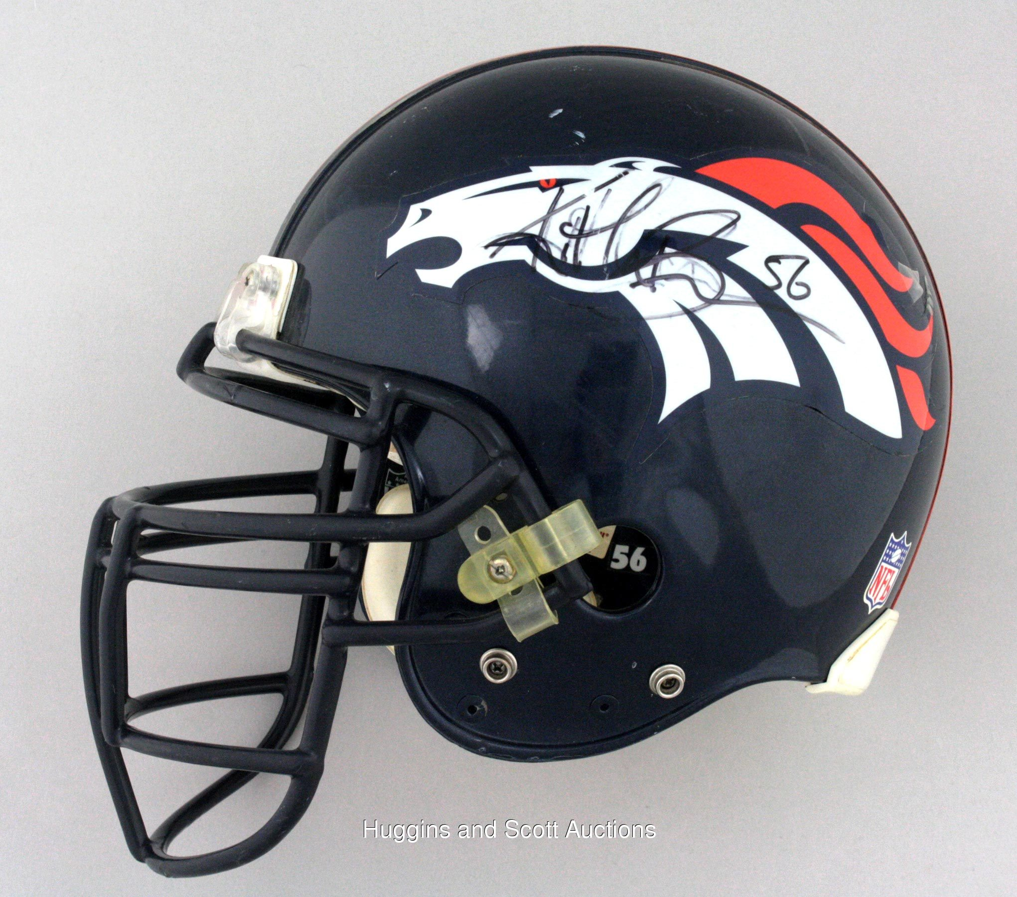 Broncos Football Helmet Front View Game-worn broncos helmetBroncos Football Helmet Front View